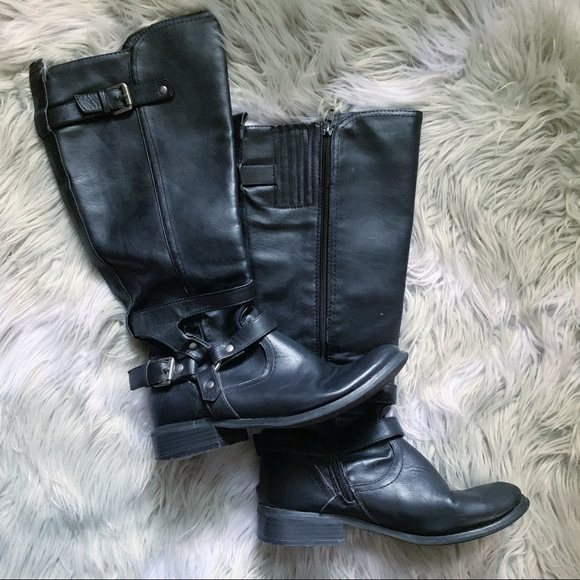 G by Guess Shoes - G by Guess• black leather buckle riding boots